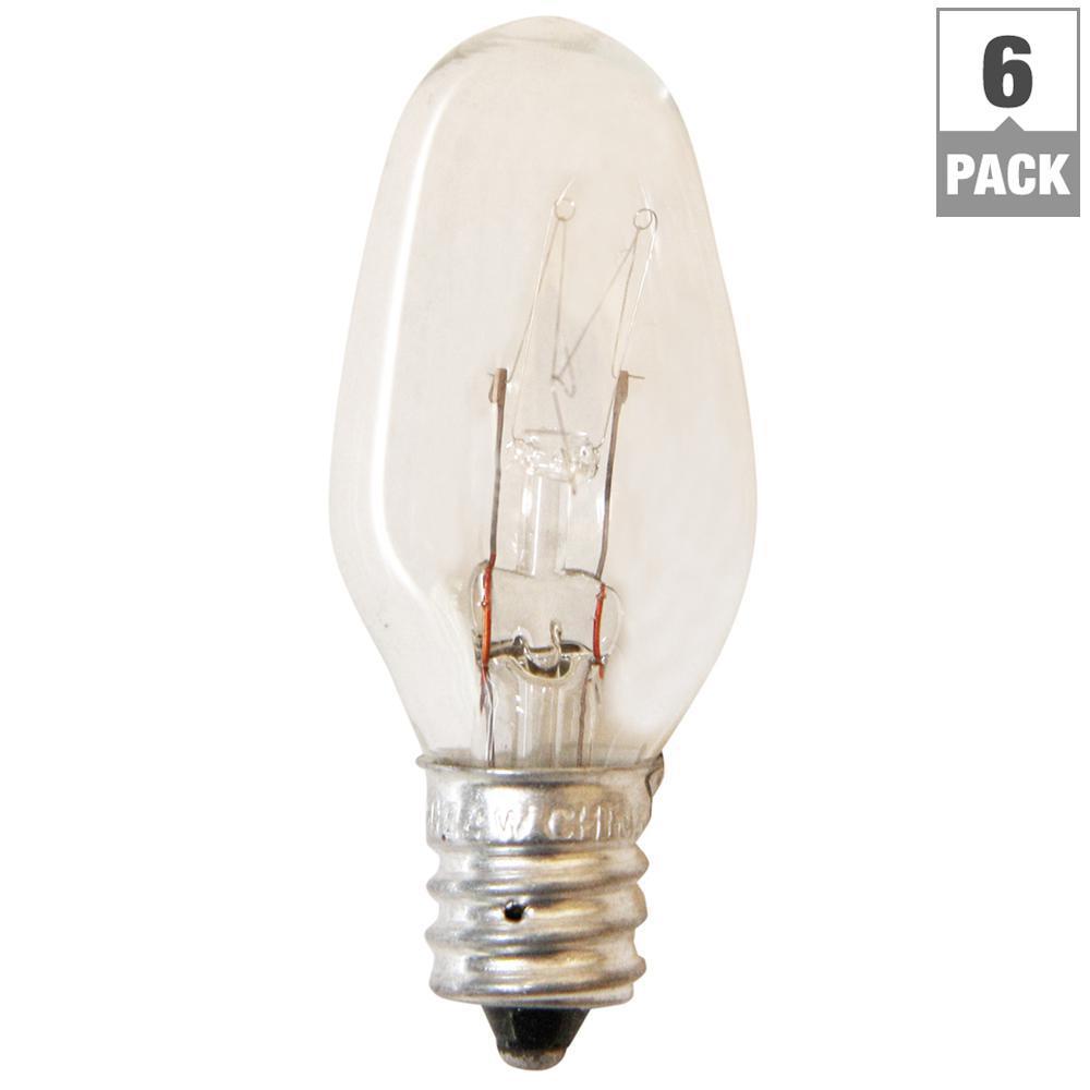 4-Watt Incandescent Clear C7 Light Bulb (6-Pack)