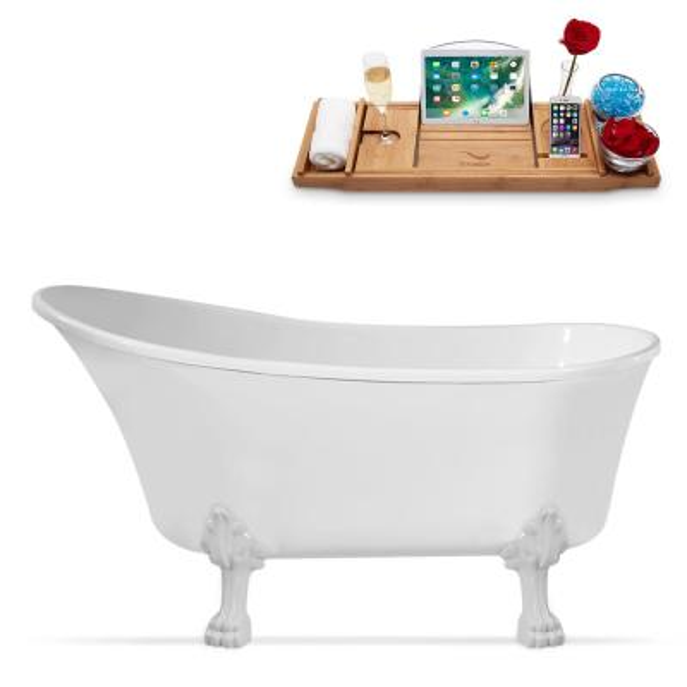 67 in. Acrylic Clawfoot Non-Whirlpool Bathtub in White