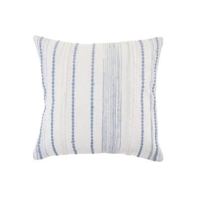 Textured White / Blue Striped Cottage Woven 20 in. x 20 in. Throw Pillow
