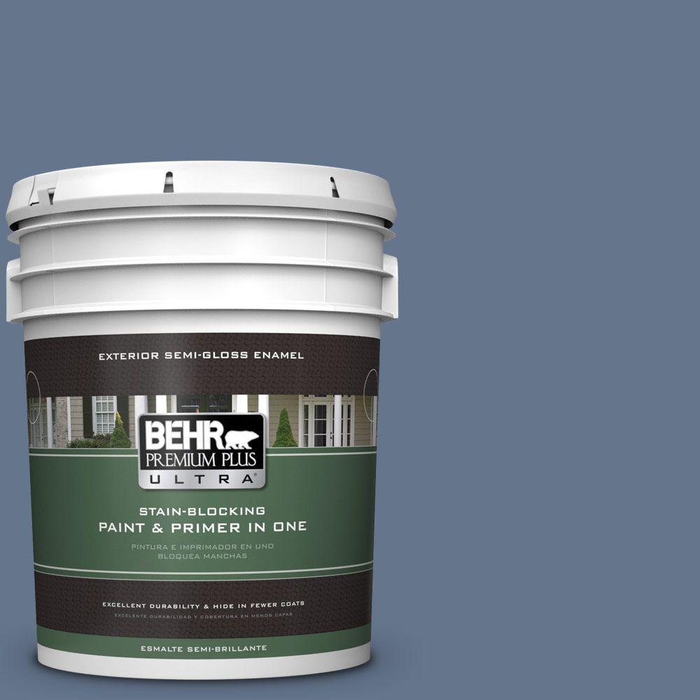 BEHR Premium Plus Ultra 5-gal. #BXC-75 Saltbox Blue Semi-Gloss Enamel Exterior Paint