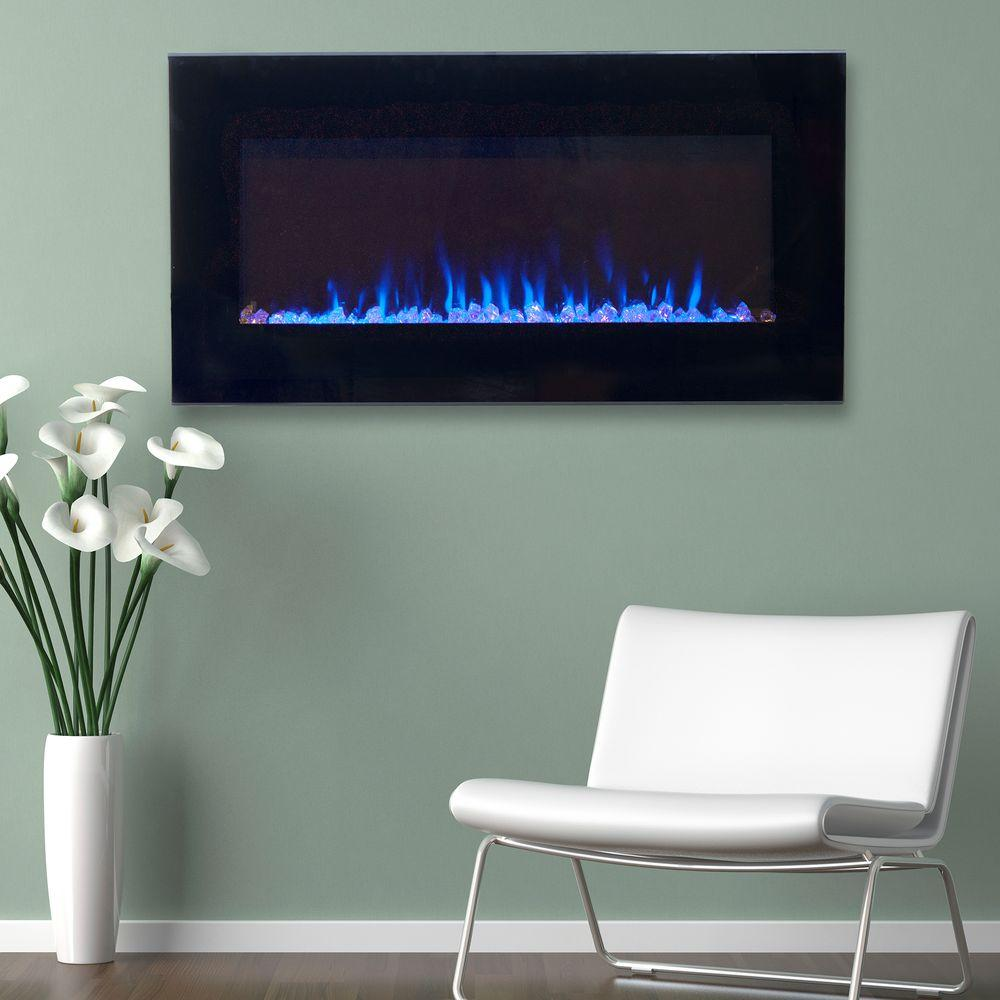 36 in. LED Fire and Ice Electric Fireplace with Remote in