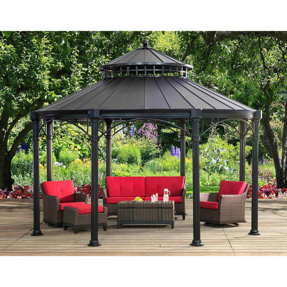 Sunjoy Brighton 14 Ft X 14 Ft Black Aluminum And Steel Gazebo With 2 Tier Black Steel Hardtop A102009600 The Home Depot
