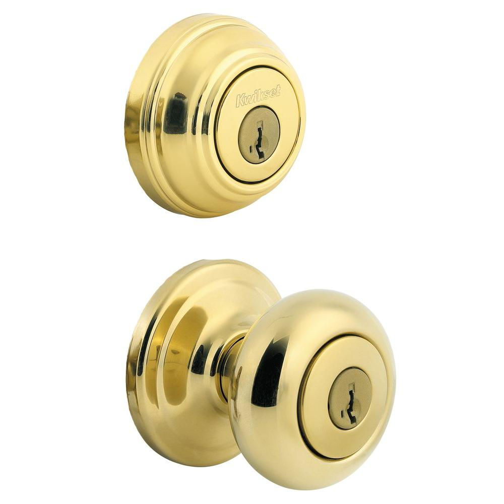 Kwikset juno polished brass exterior entry door knob and for Exterior door knobs