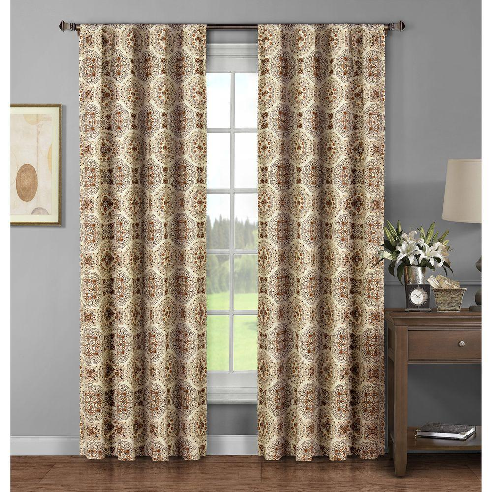 Window Elements Semi-Opaque Caroline Printed Cotton Extra Wide 96 in. L Rod Pocket Curtain Panel Pair, Spice (Set of 2)