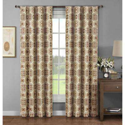 Semi-Opaque Caroline Printed Cotton Extra Wide 96 in. L Rod Pocket Curtain Panel Pair, Spice (Set of 2)