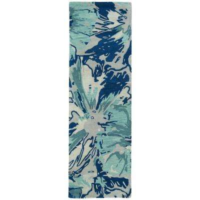 Brushstrokes Blue 3 ft. x 8 ft. Runner Rug