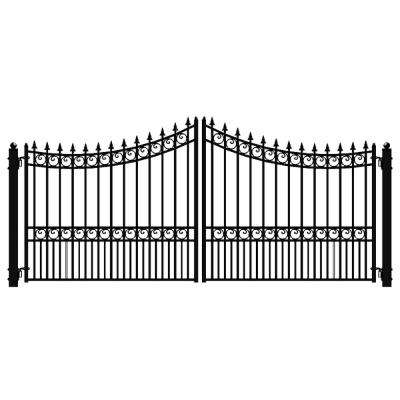 Moscow Style 16 ft. x 6 ft. Black Steel Dual Driveway Fence Gate
