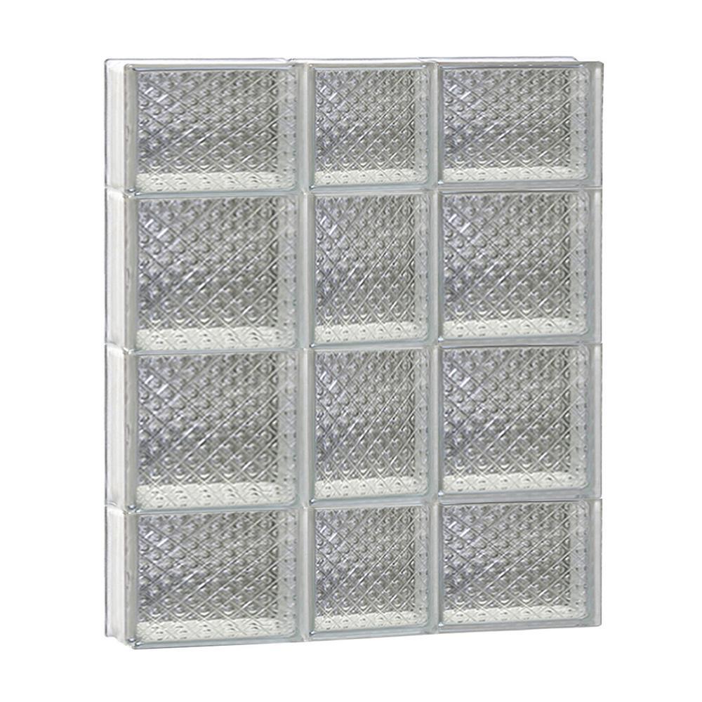 21.25 in. x 27 in. x 3.125 in. Diamond Pattern Frameless Non-Vented Glass Block Window