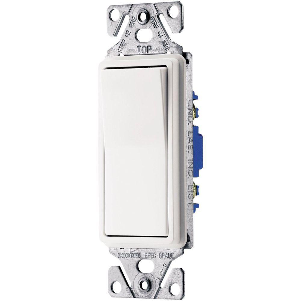 Eaton 15 Amp Decorator 3-Way Light Switch - White