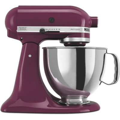Artisan 5 Qt. 10-Speed Boysenberry Stand Mixer with Flat Beater, 6-Wire Whip and Dough Hook Attachments