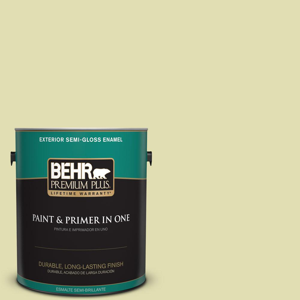 1-gal. #M340-3 Pale Green Grape Semi-Gloss Enamel Exterior Paint