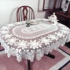 Rose Oval Off-White Polyester Tablecloth
