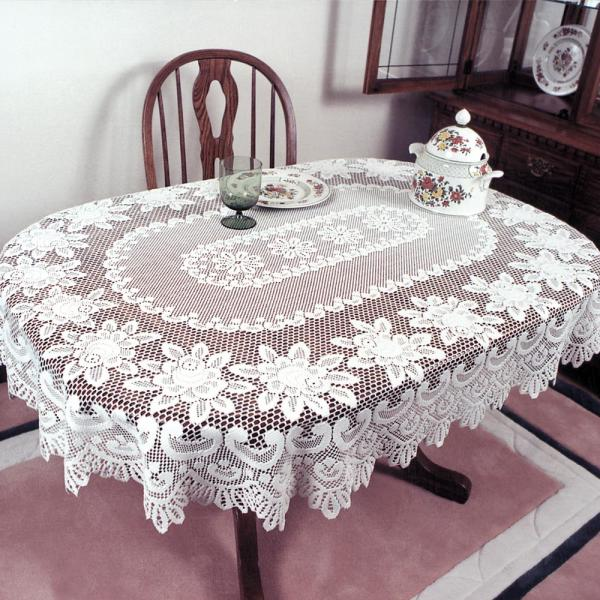 Oval Off White Polyester Tablecloth