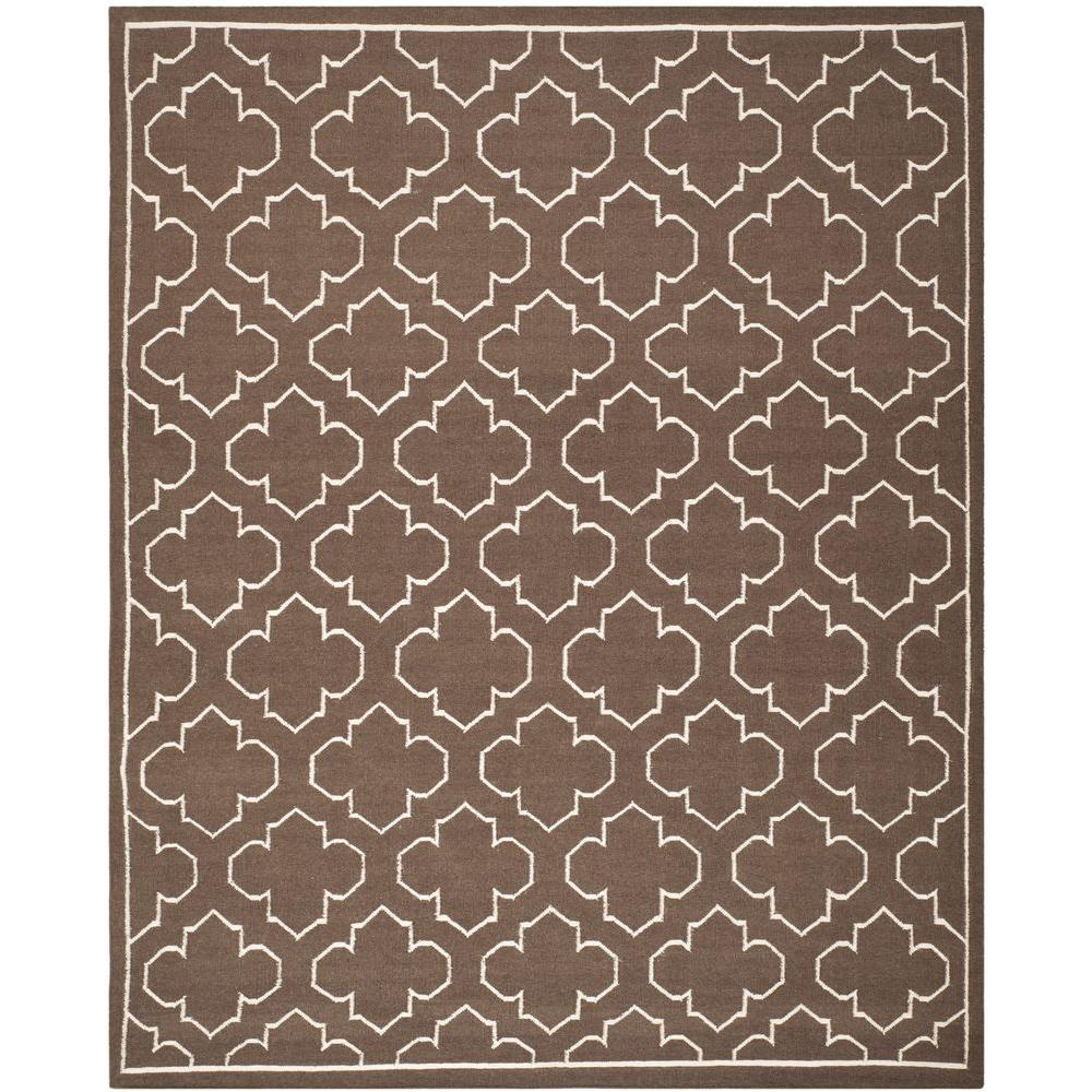 Dhurries Brown/Ivory 9 ft. x 12 ft. Area Rug