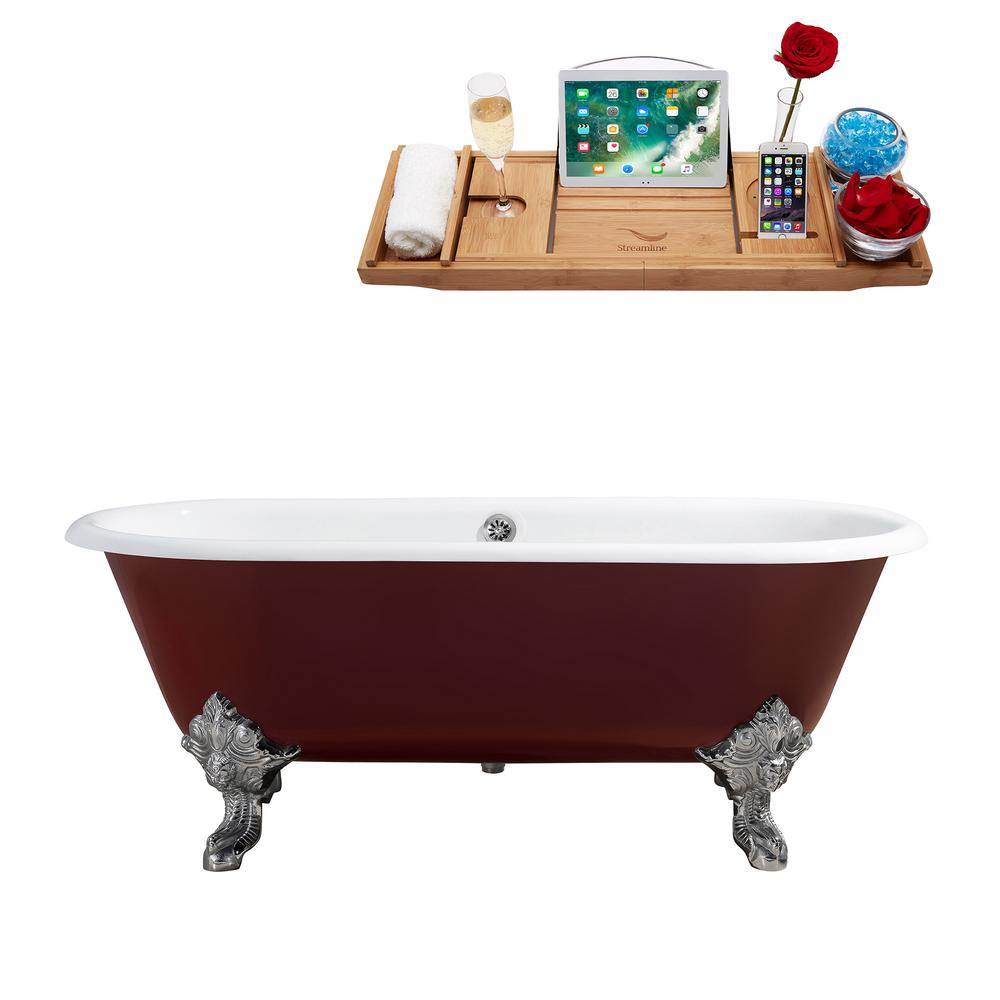 Cast Iron Clawfoot Non Whirlpool Bathtub In Red