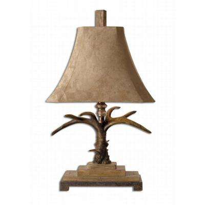 31.5 in. Staghorn Natural Brown and Ivory Table Lamp