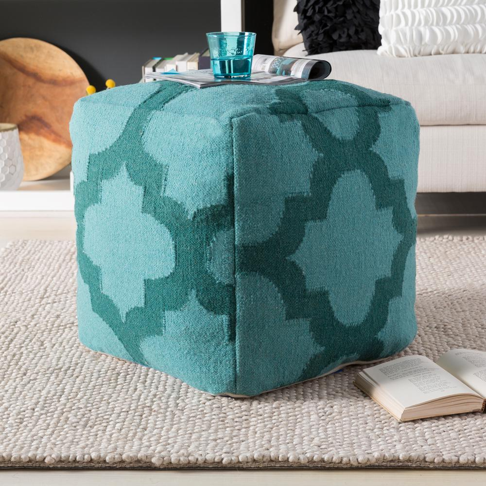 Ercilla Teal Accent Pouf