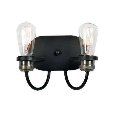 Damien 2-Light Black Sconce