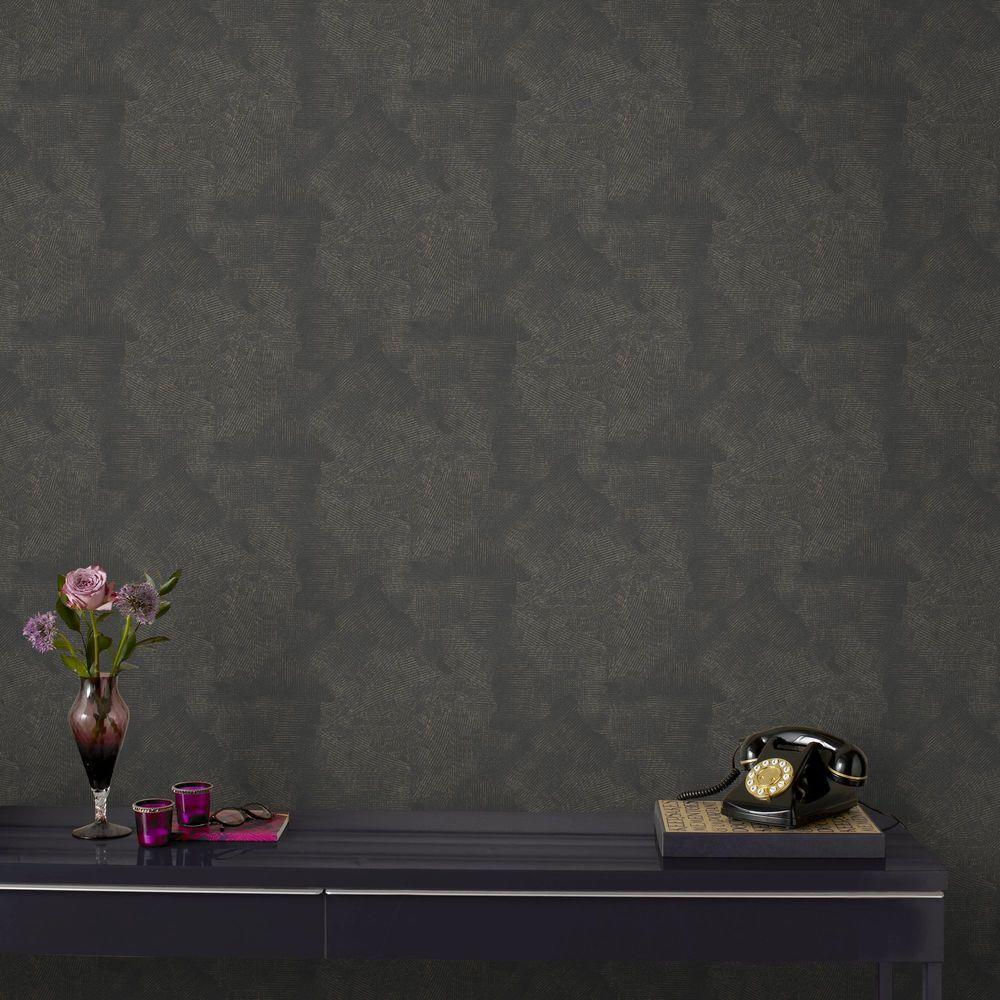 Graham Brown Moonstone Black And Gold Wallpaper Sample