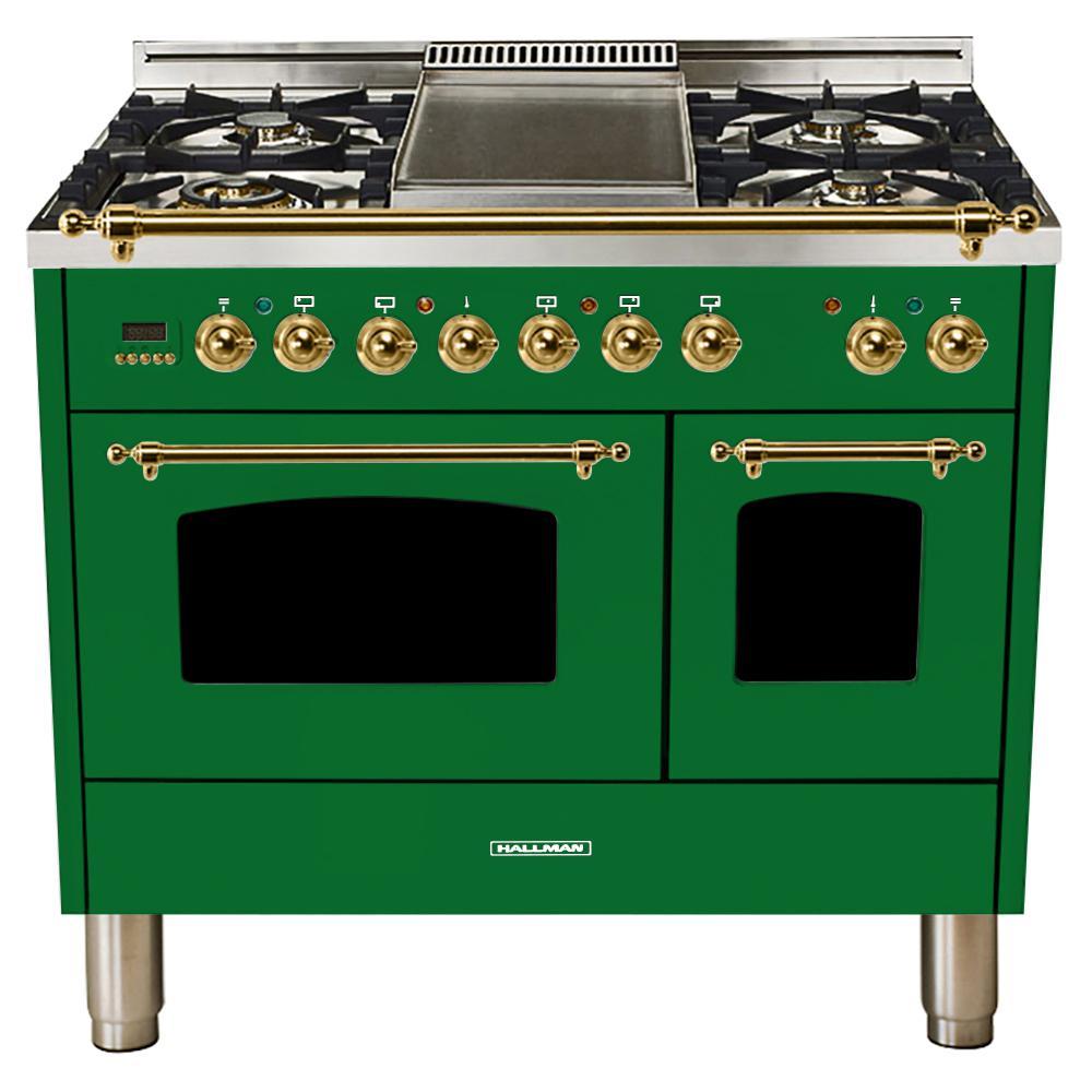 40 in. 4.0 cu. ft. Double Oven Dual Fuel Italian Range True Convection,5 Burners, LP Gas, Brass Trim/Emerald Green