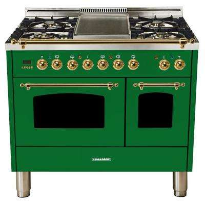 40 in. 4.0 cu. ft. Double Oven Dual Fuel Italian Range True Convection,5 Burners, LP Gas, Brass Trim/Emerald Green