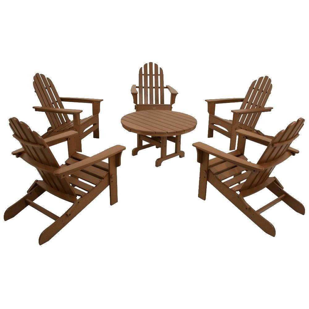 Trex Outdoor Furniture Cape Cod Tree House 6-Piece Folding Adirondack Patio Conversation Set