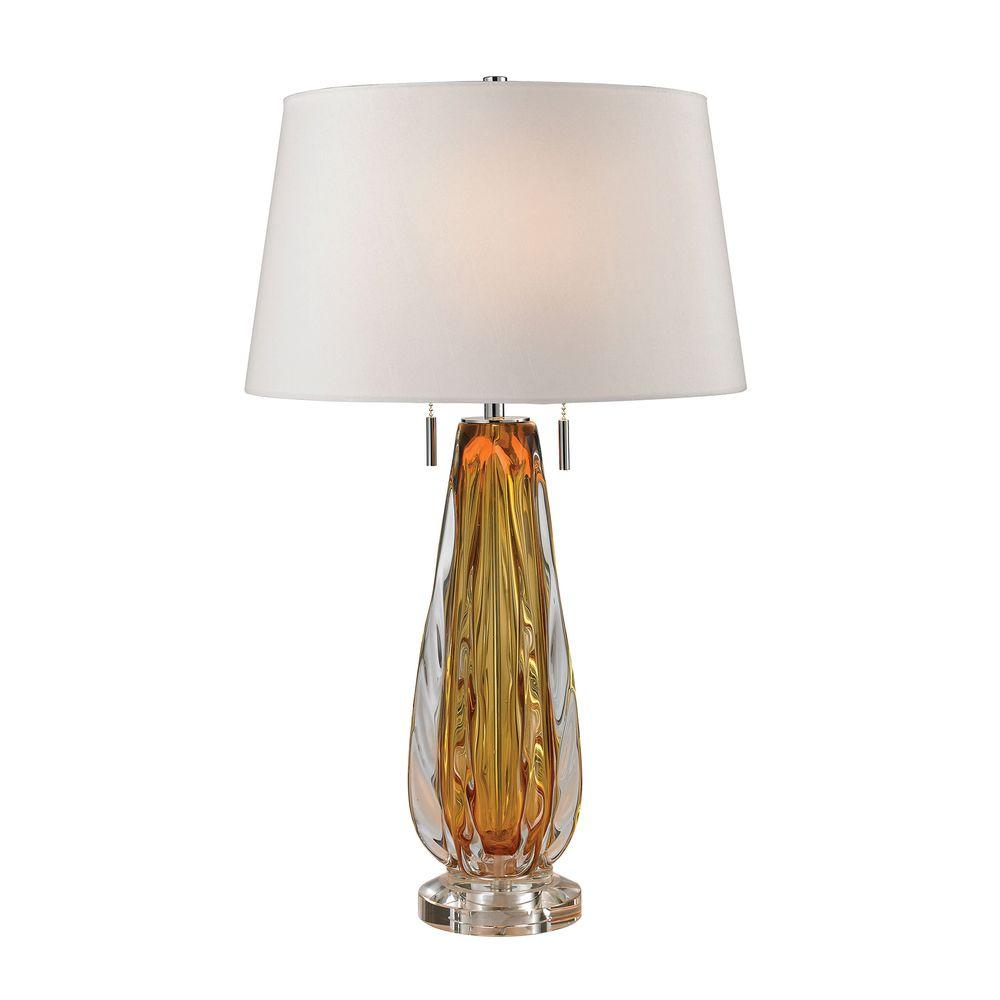 Amber Free Blown Glass Table Lamp