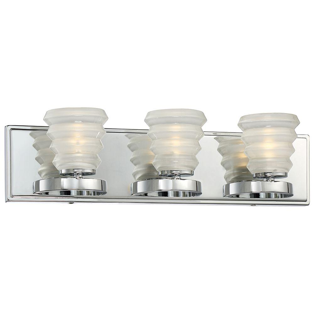 3-Light Chrome LED Bath Vanity Light