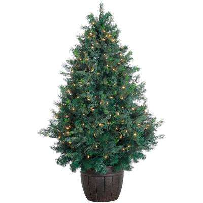 be3ca847493 5 ft. Pre-lit LED Northern Cedar Artificial Christmas Tree with 300 Clear  Lights