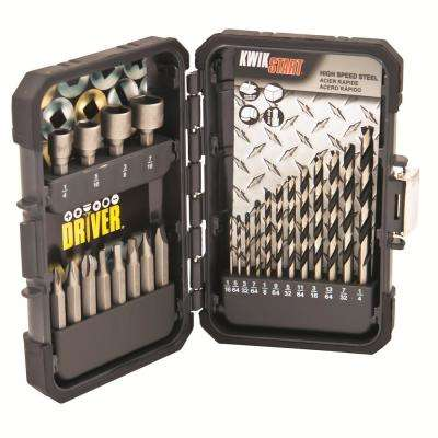 High Speed Steel Drill Bit, Screwdriver Bit and Nut Setter Set For General-Purpose and DIY Use (24-Piece)