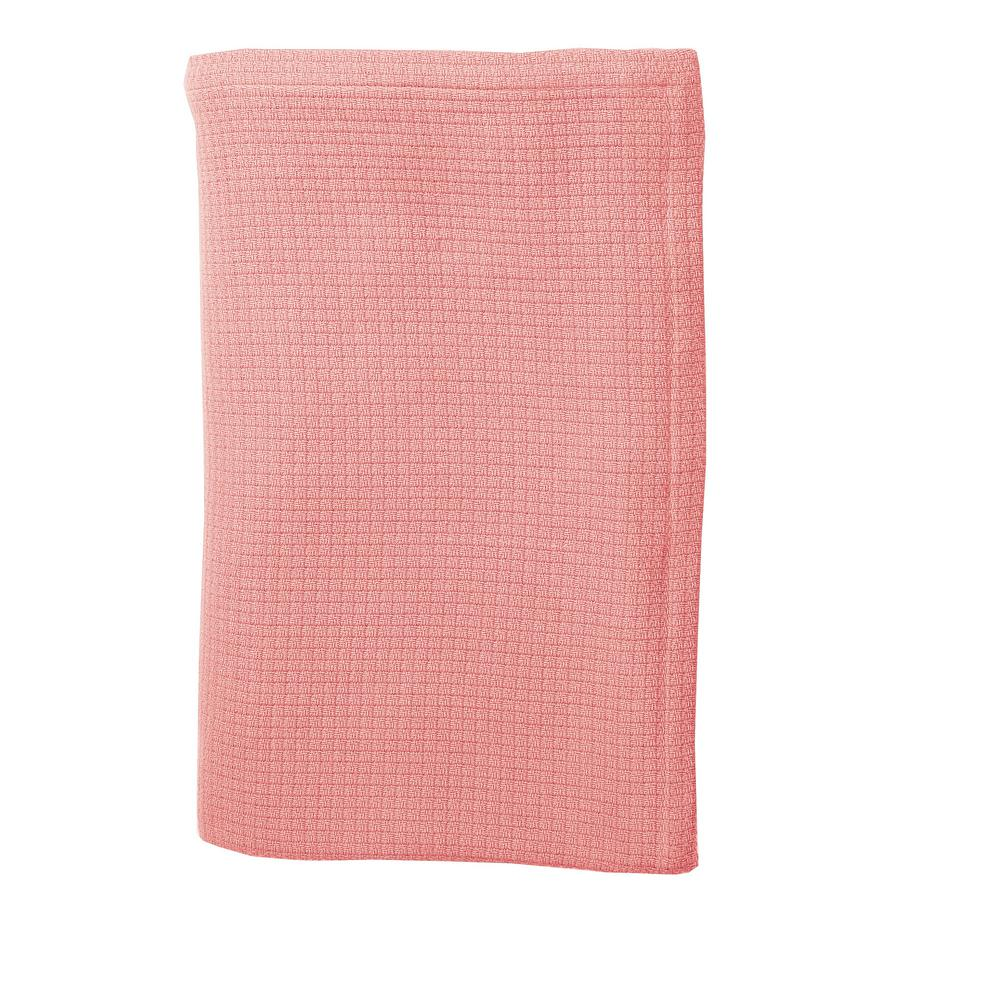 The Company Store Cotton Weave Pink Lemonade Throw