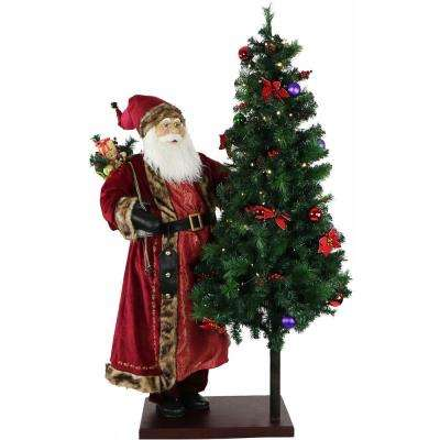 60 in. Christmas Animated Santa Claus with Decorated Christmas Tree on Base