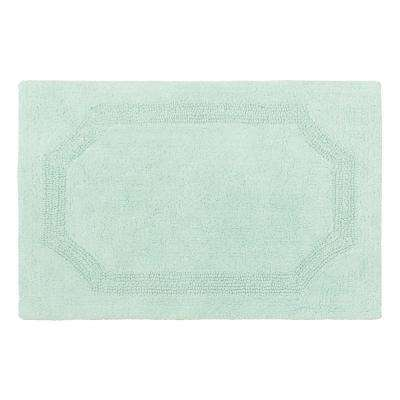 Reversible Aqua 21 in. x 34 in. Cotton Bath Mat