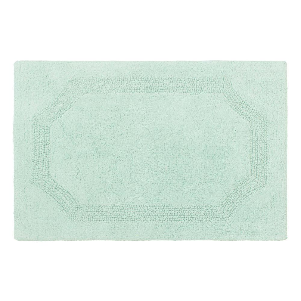 Laura Ashley Reversible Aqua Cotton 2-Piece Bath Mat Set