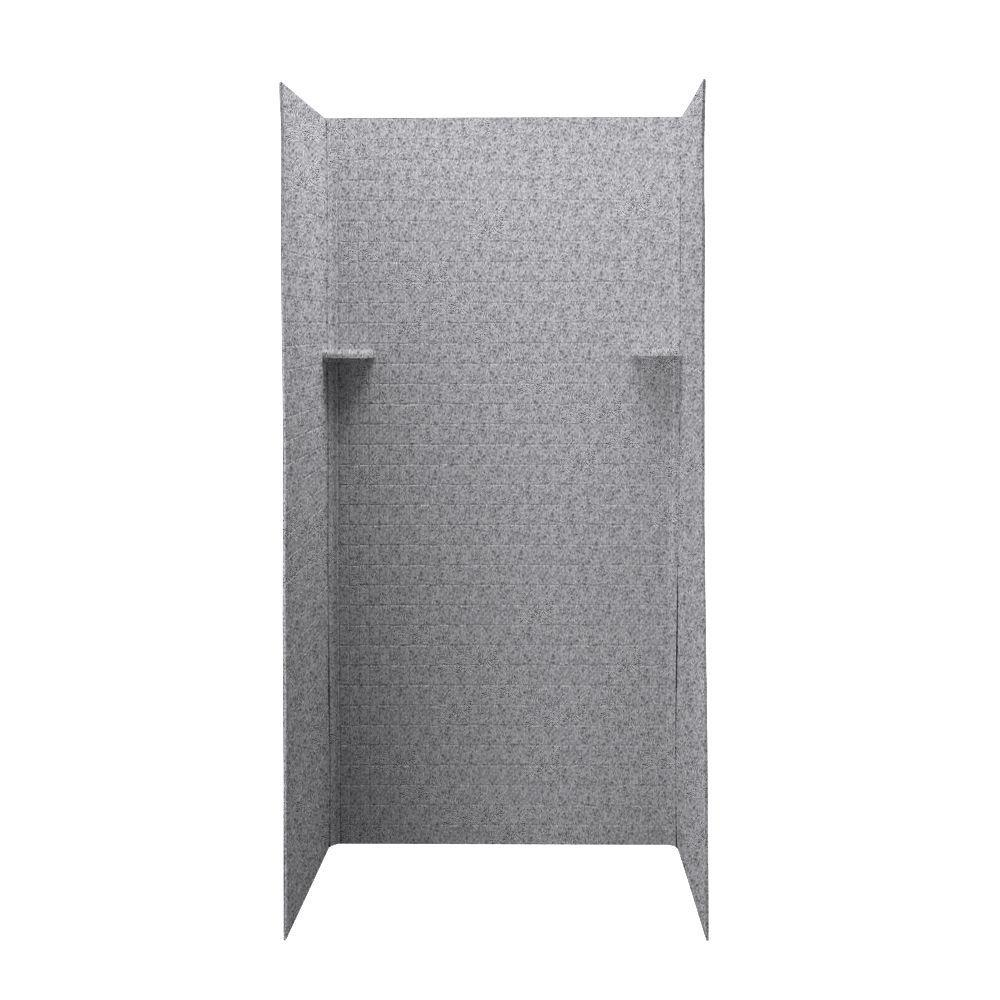 Swan Tangier 36 in. x 36 in. x 72 in. Three Piece Easy Up Adhesive Shower Wall in Gray Granite-DISCONTINUED