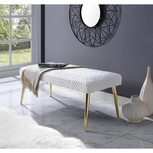 Mila White/Gold Faux Fur Bench with Leaf Textured Metal Leg