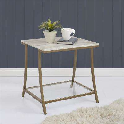 Terra Brass Side Table with Faux Marble Top