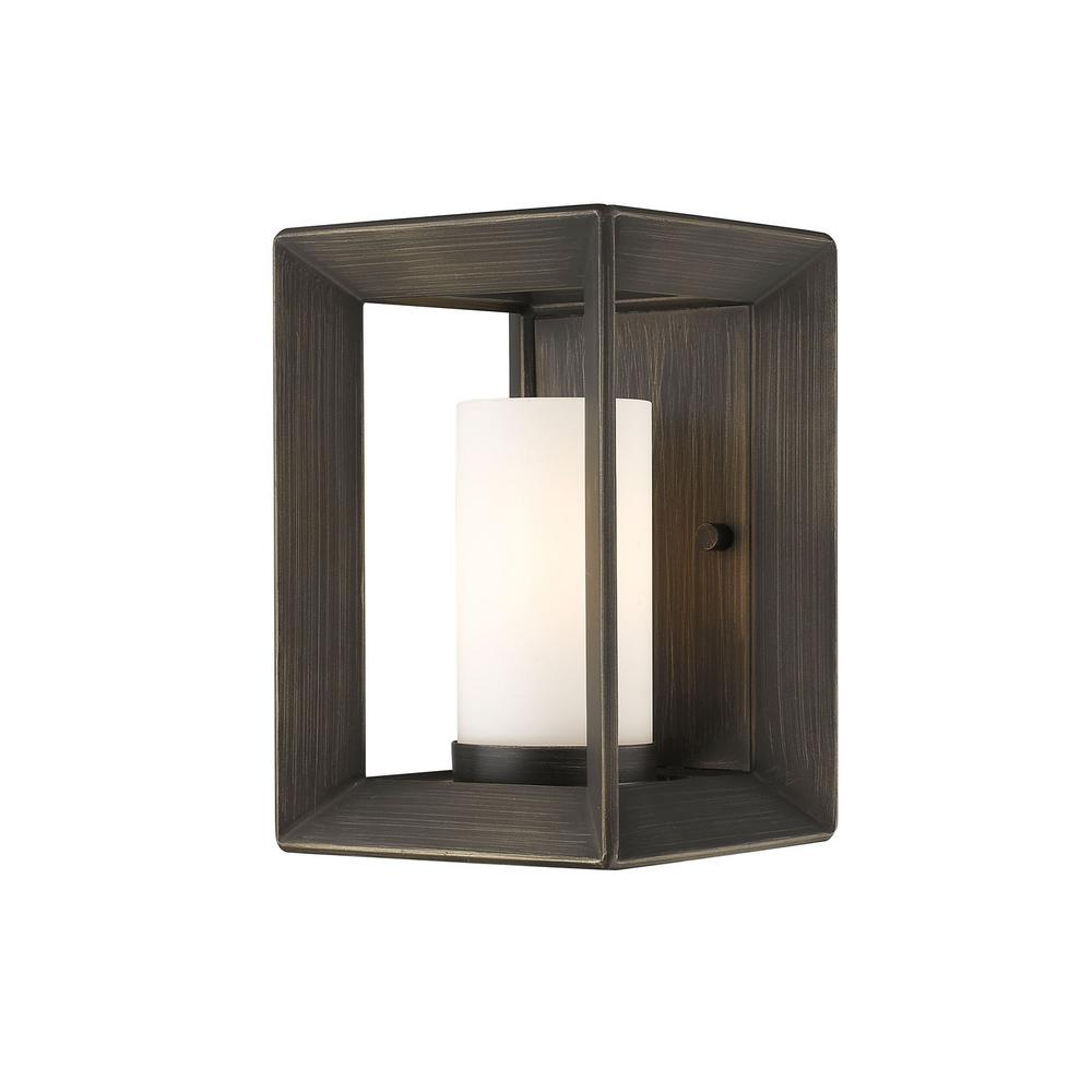 Smyth Gunmetal Bronze 1-Light Bath Light with Opal Glass