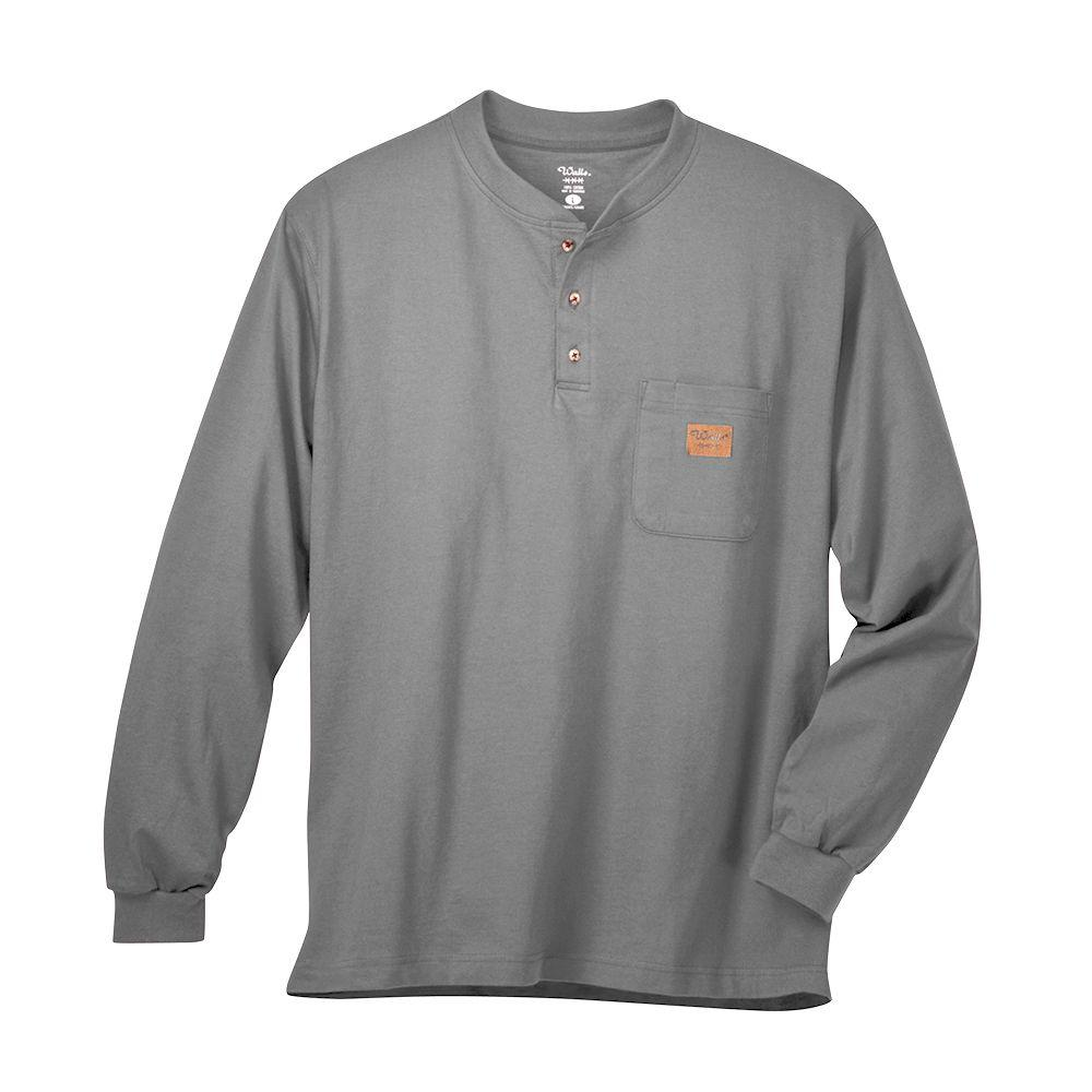 Walls Long Sleeve Heavyweight Henley Medium Regular Tee in Gray