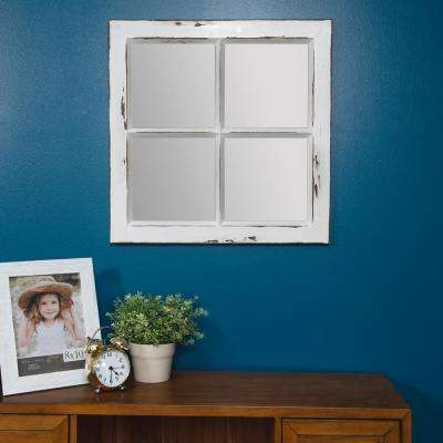 Rustic Framed Window Pane Distressed White Decorative Mirror