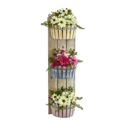 39 in. Indoor Mixed Daisy Artificial Plant in Three-Tiered Wall Decor Planter