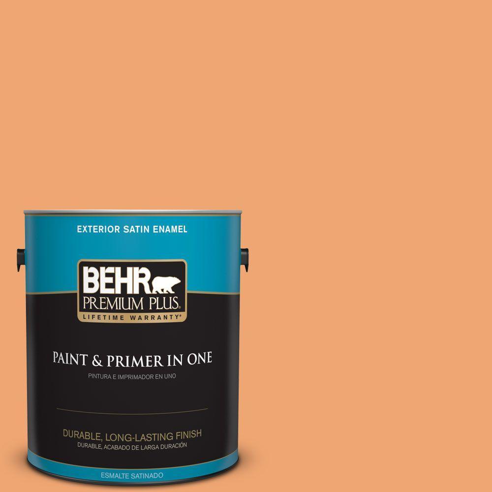 1 gal. #HDC-SP16-04 Apricot Jam Satin Enamel Exterior Paint