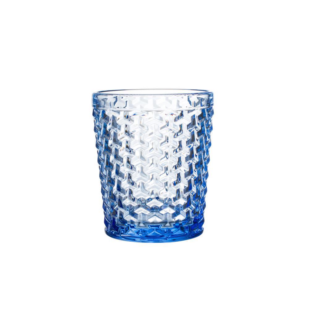 Elle Collection Bistro Weave 10.82 oz./320 ml 4-Pieces Blue Old Fashion Glasses