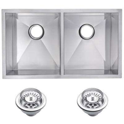 Undermount Stainless Steel 31 in. 50/50 Double Basin Kitchen Sink with Strainer in Satin