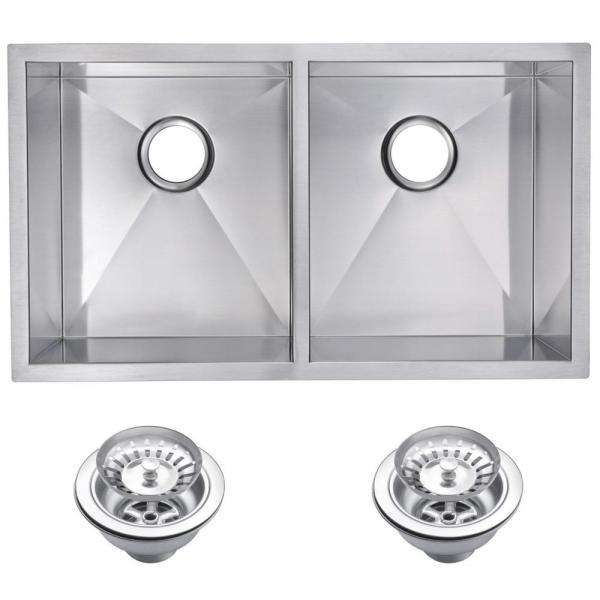 Undermount Stainless Steel 31 in. Double Bowl Kitchen Sink with Strainer in Satin