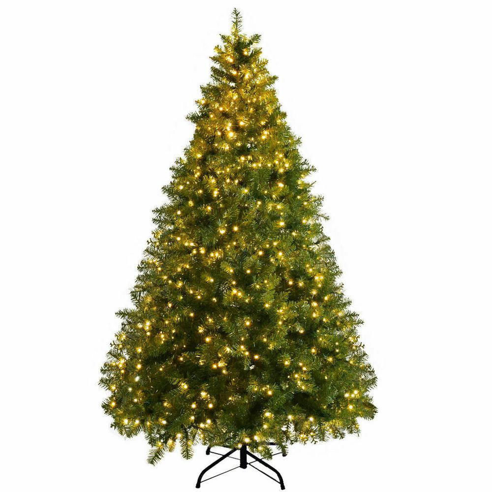 Pre Lit Led Lights Christmas Tree: Costway 8 Ft. Pre-Lit Dense PVC Christmas Tree Spruce