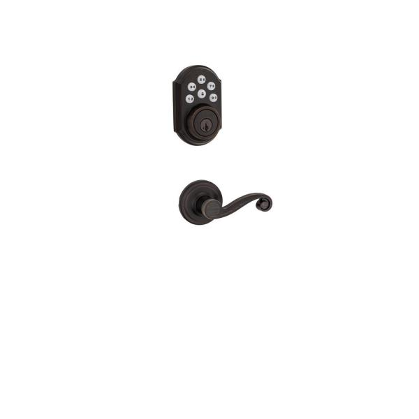 SmartCode Venetian Bronze Single Cylinder Electronic Deadbolt featuring SmartKey Security and Lido Hall/Closet Lever
