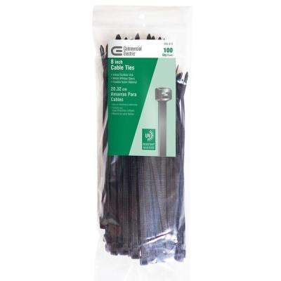 8 in. UV Cable Tie, Black (100-Pack)