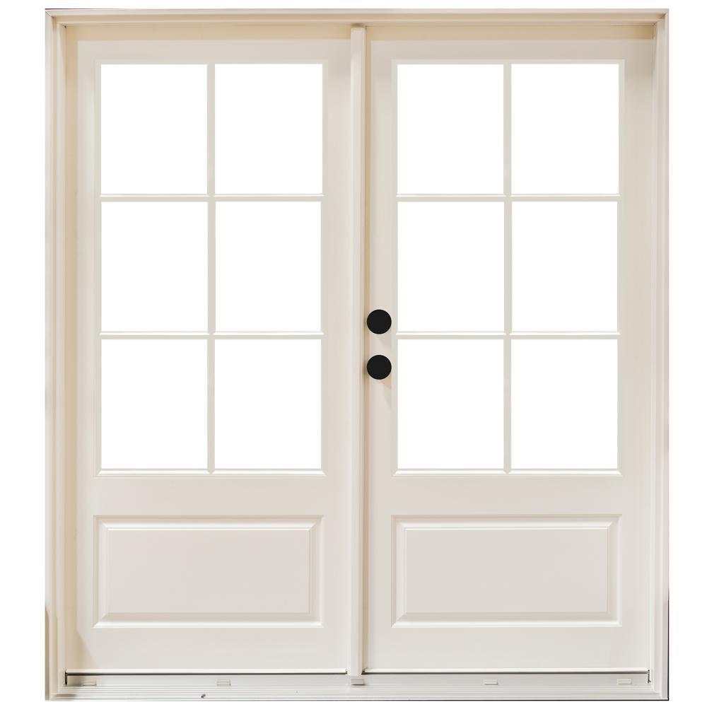 Mp doors 60 in x 80 in fiberglass smooth white right for Fiberglass french patio doors