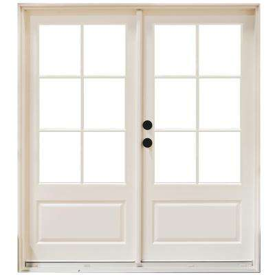 60 in. x 80 in. Fiberglass Smooth White Right-Hand Inswing Hinged 3/4-Lite Patio Door with 6-Lite GBG